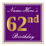 [ Thumbnail: Elegant, Purple, Faux Gold 62nd Birthday + Name Invitation ]