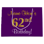 [ Thumbnail: Elegant, Purple, Faux Gold 62nd Birthday + Name Gift Bag ]