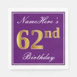 [ Thumbnail: Elegant Purple, Faux Gold 62nd Birthday + Name Napkin ]