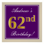 [ Thumbnail: Elegant, Purple, Faux Gold 62nd Birthday + Name Poster ]