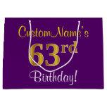 [ Thumbnail: Elegant, Purple, Faux Gold 63rd Birthday + Name Gift Bag ]