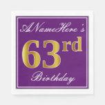 [ Thumbnail: Elegant Purple, Faux Gold 63rd Birthday + Name Napkin ]