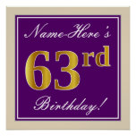 [ Thumbnail: Elegant, Purple, Faux Gold 63rd Birthday + Name Poster ]