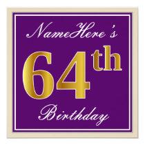 Elegant, Purple, Faux Gold 64th Birthday   Name Card