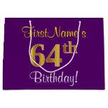 [ Thumbnail: Elegant, Purple, Faux Gold 64th Birthday + Name Gift Bag ]
