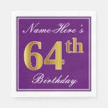 [ Thumbnail: Elegant Purple, Faux Gold 64th Birthday + Name Napkin ]