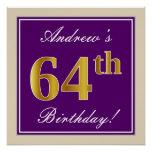 [ Thumbnail: Elegant, Purple, Faux Gold 64th Birthday + Name Poster ]