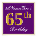 [ Thumbnail: Elegant, Purple, Faux Gold 65th Birthday + Name Invitation ]