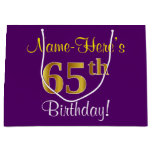 [ Thumbnail: Elegant, Purple, Faux Gold 65th Birthday + Name Gift Bag ]
