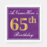 [ Thumbnail: Elegant Purple, Faux Gold 65th Birthday + Name Napkin ]