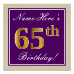 [ Thumbnail: Elegant, Purple, Faux Gold 65th Birthday + Name Poster ]