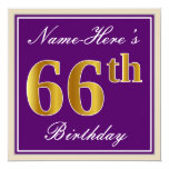 [ Thumbnail: Elegant, Purple, Faux Gold 66th Birthday + Name Invitation ]