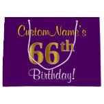[ Thumbnail: Elegant, Purple, Faux Gold 66th Birthday + Name Gift Bag ]