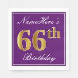 [ Thumbnail: Elegant Purple, Faux Gold 66th Birthday + Name Napkin ]