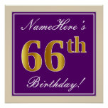 [ Thumbnail: Elegant, Purple, Faux Gold 66th Birthday + Name Poster ]