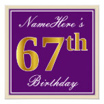 [ Thumbnail: Elegant, Purple, Faux Gold 67th Birthday + Name Invitation ]
