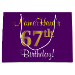 [ Thumbnail: Elegant, Purple, Faux Gold 67th Birthday + Name Gift Bag ]