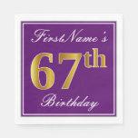 [ Thumbnail: Elegant Purple, Faux Gold 67th Birthday + Name Paper Napkin ]