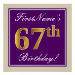 [ Thumbnail: Elegant, Purple, Faux Gold 67th Birthday + Name Poster ]