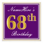 [ Thumbnail: Elegant, Purple, Faux Gold 68th Birthday + Name Invitation ]