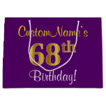 [ Thumbnail: Elegant, Purple, Faux Gold 68th Birthday + Name Gift Bag ]