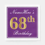 [ Thumbnail: Elegant Purple, Faux Gold 68th Birthday + Name Napkin ]