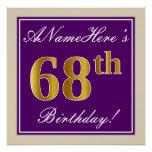 [ Thumbnail: Elegant, Purple, Faux Gold 68th Birthday + Name Poster ]