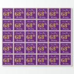 [ Thumbnail: Elegant, Purple, Faux Gold 68th Birthday + Name Wrapping Paper ]
