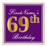 [ Thumbnail: Elegant, Purple, Faux Gold 69th Birthday + Name Invitation ]