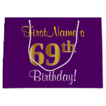 [ Thumbnail: Elegant, Purple, Faux Gold 69th Birthday + Name Gift Bag ]