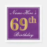 [ Thumbnail: Elegant Purple, Faux Gold 69th Birthday + Name Paper Napkin ]
