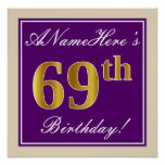 [ Thumbnail: Elegant, Purple, Faux Gold 69th Birthday + Name Poster ]