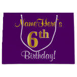 [ Thumbnail: Elegant, Purple, Faux Gold 6th Birthday + Name Gift Bag ]