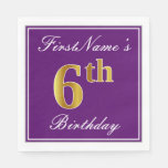 [ Thumbnail: Elegant Purple, Faux Gold 6th Birthday + Name Paper Napkin ]