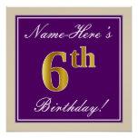 [ Thumbnail: Elegant, Purple, Faux Gold 6th Birthday + Name Poster ]