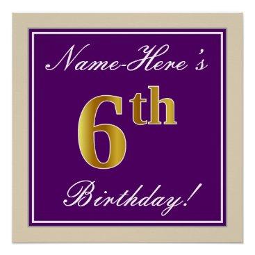 Art Themed Elegant, Purple, Faux Gold 6th Birthday   Name Poster