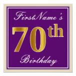 [ Thumbnail: Elegant, Purple, Faux Gold 70th Birthday + Name Invitation ]