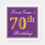 [ Thumbnail: Elegant Purple, Faux Gold 70th Birthday + Name Paper Napkin ]