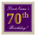 [ Thumbnail: Elegant, Purple, Faux Gold 70th Birthday + Name Poster ]