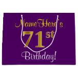[ Thumbnail: Elegant, Purple, Faux Gold 71st Birthday + Name Gift Bag ]