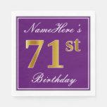 [ Thumbnail: Elegant Purple, Faux Gold 71st Birthday + Name Napkin ]