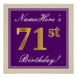 [ Thumbnail: Elegant, Purple, Faux Gold 71st Birthday + Name Poster ]