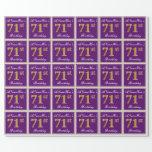 [ Thumbnail: Elegant, Purple, Faux Gold 71st Birthday + Name Wrapping Paper ]