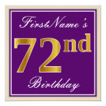 [ Thumbnail: Elegant, Purple, Faux Gold 72nd Birthday + Name Invitation ]