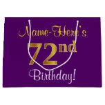 [ Thumbnail: Elegant, Purple, Faux Gold 72nd Birthday + Name Gift Bag ]