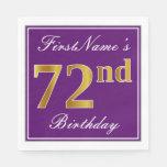 [ Thumbnail: Elegant Purple, Faux Gold 72nd Birthday + Name Paper Napkin ]
