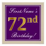 [ Thumbnail: Elegant, Purple, Faux Gold 72nd Birthday + Name Poster ]