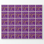 [ Thumbnail: Elegant, Purple, Faux Gold 72nd Birthday + Name Wrapping Paper ]