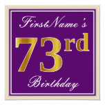 [ Thumbnail: Elegant, Purple, Faux Gold 73rd Birthday + Name Invitation ]