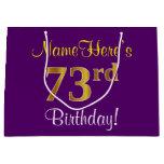 [ Thumbnail: Elegant, Purple, Faux Gold 73rd Birthday + Name Gift Bag ]